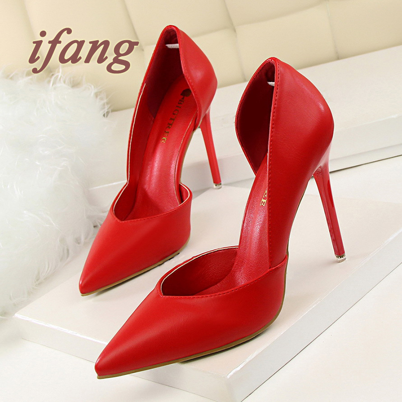 ifang 2017 Bridal Women Pumps Red High Heel Wedding Heels Victoria Shoes Woman Two Piece Pumps