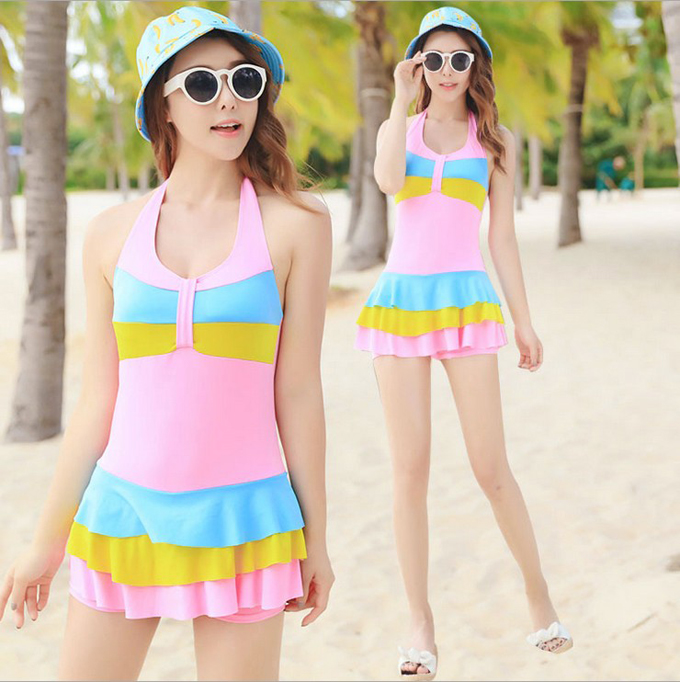 b61210a88bed8 Fashion women ladies girls students swim swimming pool beach surfing  drifting bathing spa hot sexy color dress swimwear swimsuit-in One-Piece  Suits from ...