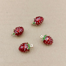 10pcs 11x17mm enamel strawberry charm for jewelry making earring pendant bracelet charm fashion charms fruit charm