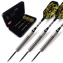 лучшая цена CUESOUL 22 Grams Tungsten Steel Tip Darts Set 90% Tungsten With Black Dart Case,Black Dart Shaft,Yellow Dart Flight,Dart Tool