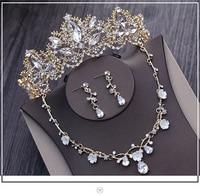 Liga de ouro joias com folha e flor esmalte moda Tiara colar e brinco 3 unids Conjunto