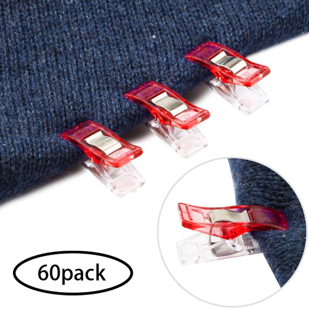 Sewing Accessories Costura Stitch Pack of 60 Clips for Sewing Quilting Crafting Red Sewing