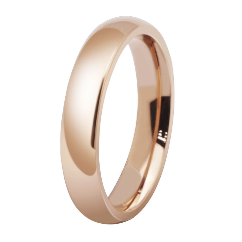 promotion wholesale titanium steel rose gold color anti allergy smooth couple wedding ring woman man