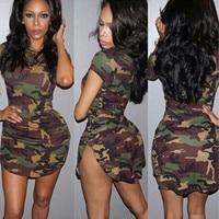 0556 europäische außenhandel neue muster selbst-anbau pakethinterteile camouflage t-shirt rundhals kurzarm dress