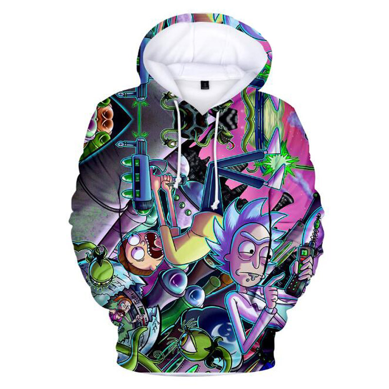 Rick And Morty 3D Print Mens Hoodies and Sweatshirts Funny ricky y morty Hip Hop Hooded Jacket Men Tracksuit Anime Clothing 4XL
