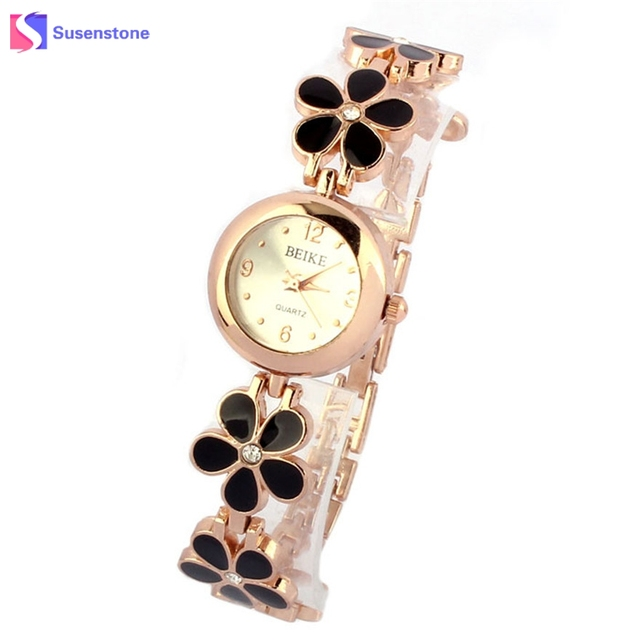 Luxury Flower Watches Women Elegant Gold Bracelet Watch Analog Quartz Clock for