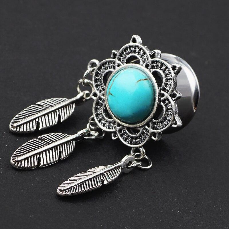 Vintage Dreamcatcher Feather Pendant Dangle Ear Plug Flesh Tunnels Crystal Gauge