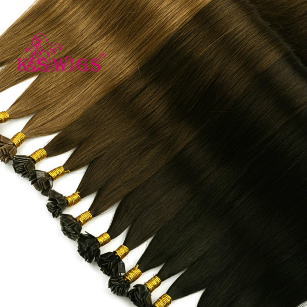 K.S Wigs 1g/s 24'' Straight Remy Human Hair Capsules Keratin Pre Bonded Double Drawn Flat Tip Hair Extensions 50g/pack