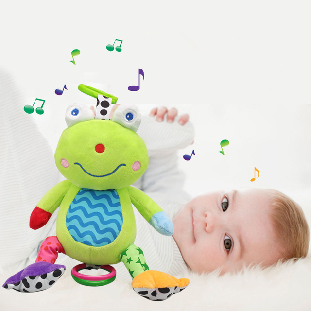 Baby Rattle Musical Hanging Bed Bell Plush Toy  Plush Frog Animal Stroller Ring Bell Baby Educational Doll