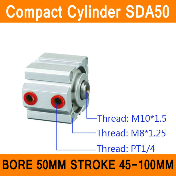 SDA50 Cylinder SDA Series Bore 50mm Stroke 45-100mm Compact Air Cylinders Dual Action Air Pneumatic Cylinders ISO