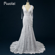 Real Picture New Wedding Dresses with Pocket V-Neck Sash Court Train Mermaid Bridal Gown Robe de Mariage Ribbons ASAFN58