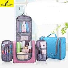 TRAVELSKY Fashion Women&Men Large Capacity Travel Makeup Bag Wash Bag Toilet Bag Hanging Waterproof Wear-resisting 13549