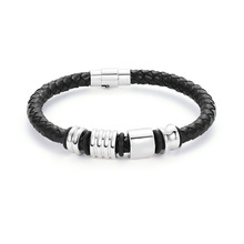 Fashion Hot Sale PU Leather Bracelet Men handwoven rope balck Leather beaded bracelet jewelry все цены