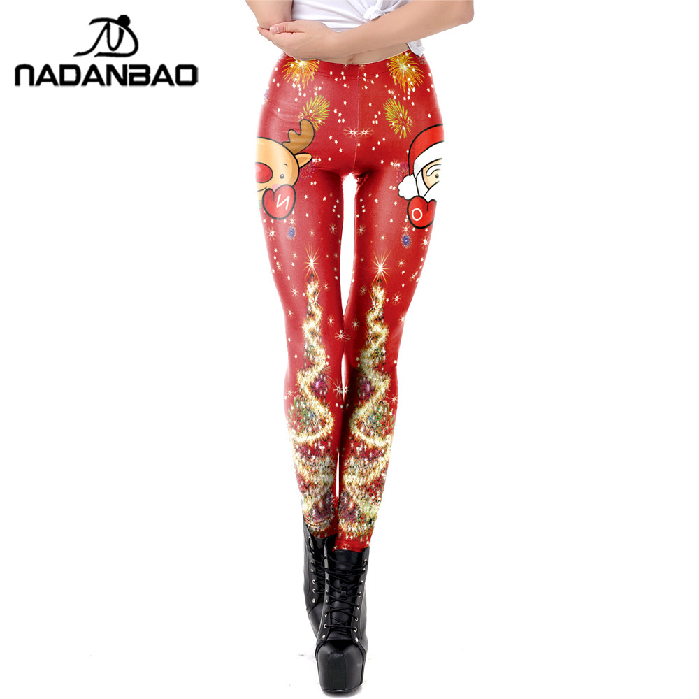 NADANBAO Santa Claus   Leggings   Women Plus Size Leggins Christmas Shiny Tree Elk Festival Autumn Winter Fitness   Legging