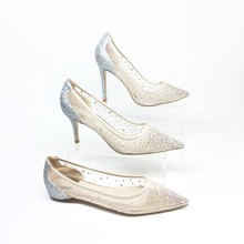 Women bling fashion design women's high heel pumps see through Party Wedding stiletto shoes thin heels sexy bride shoes Bridal