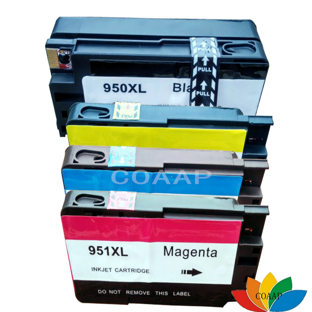 4x Cydnaws HP 950 951 inc inc Cartridge ar gyfer 950XL 951XL hp Officejet pro 8100 8610 8620 8630 8600 +