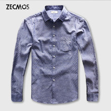 Dot Shirt Men Oxford Dress Casual Shirt Male Cotton Linen Long Sleeve Social Business Slim Fit
