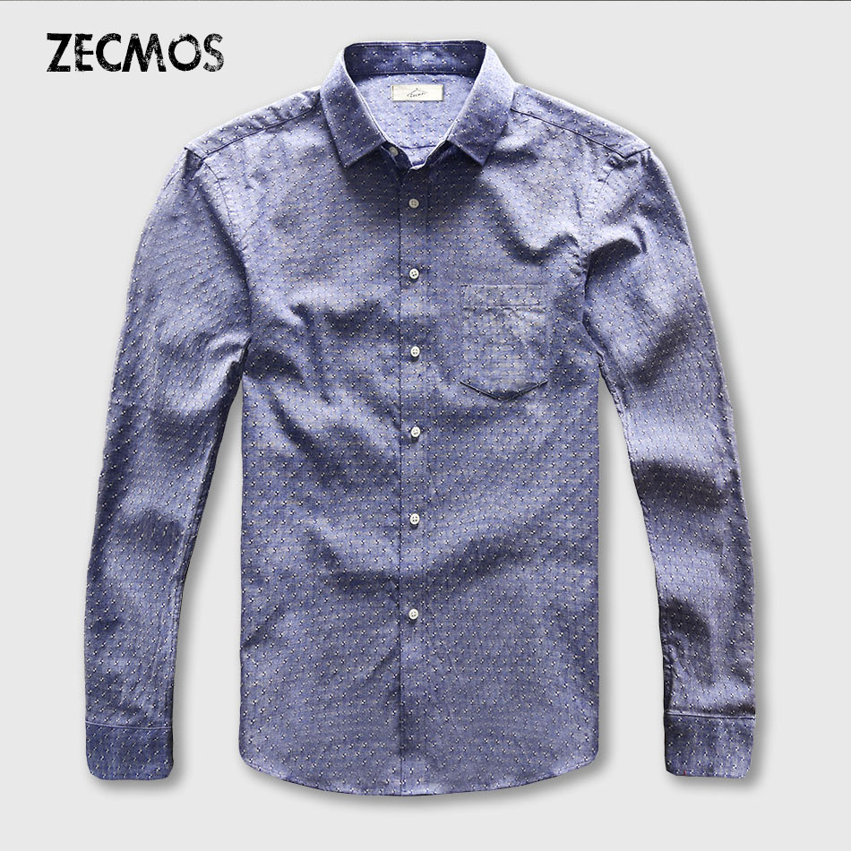 Dot Shirt Mænd Oxford Dress Casual Shirt Mandlige Cotton Linen Long Sleeve Social Business Slim Fit