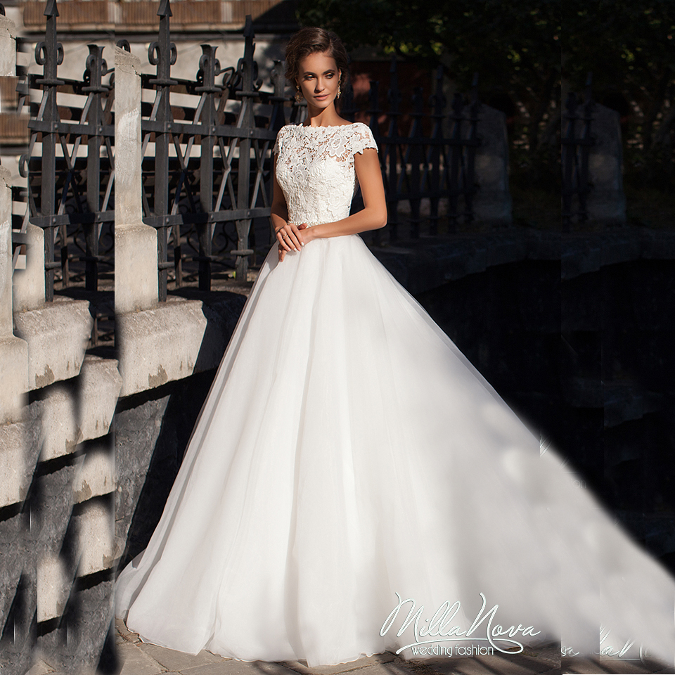 bridal princess gowns Short Sleeve 3 D Lace Open Back Wedding Dress ...