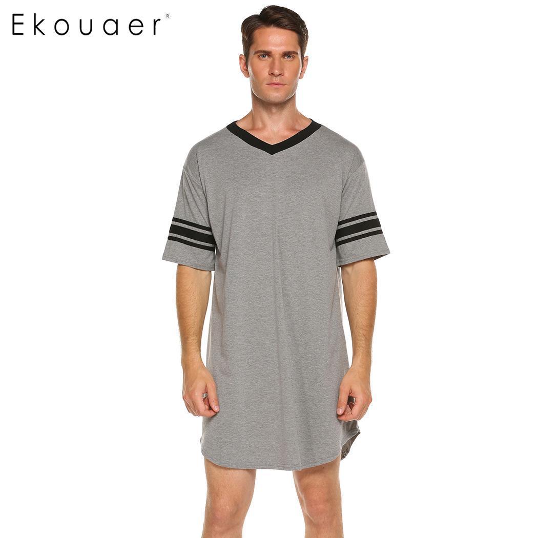 300fc360a95 Ekouaer Men Sleepwear Long Nightshirt Short Sleeve Nightwear Night Shirt  Soft Comfortable Loose Sleep Shirt Male Home Clothing -in Sleep Tops from  Underwear ...
