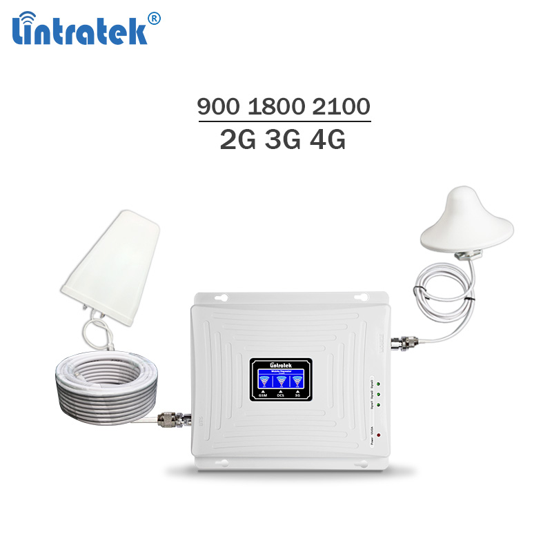 Lintratek Tri Band Signal Booster 900 1800 2100 Repeater GSM 3G 4G Ampli LTE Booster GSM 900 Amplifier 3G 2100Mhz 4G 1800Mhz KIT