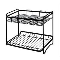 2 Layers Iron Storage Rack Spice Condiment Holder Basket Desk Organizer Kitchen Shelf Bathroom Toiletries Storage Racks