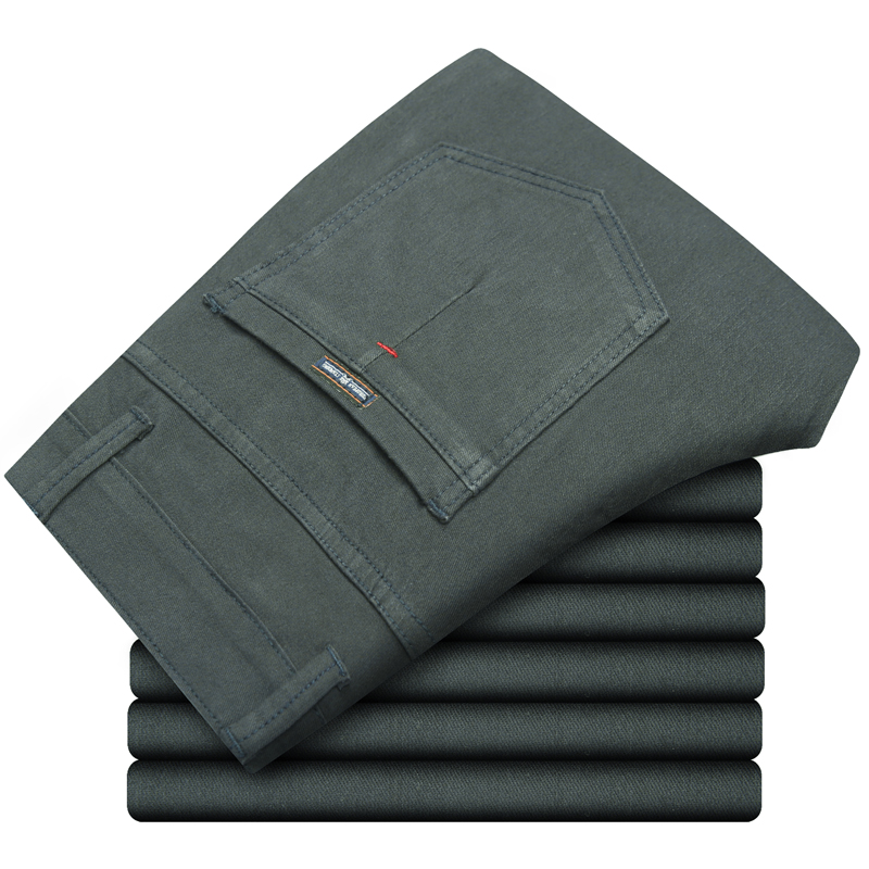 Plus Size 40 42 44 46 Men's Casual Pants 2020 New Fashion Cotton Elastic Slim Straight Trousers Male Solid Color Business Pants