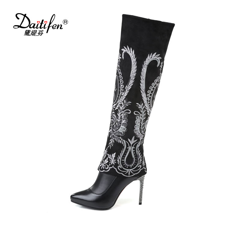 2f91bb717410 Daitifen 2018 Winter Black Flowers Embroidery Zipper Superstar Thigh High  Boots Pointed Toe High Heel Women Shoes Over The Knee