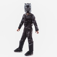 цена Boys 3D Print Marvel Movie Black Panther Siamese Muscle Cosplay Halloween Play Costume онлайн в 2017 году