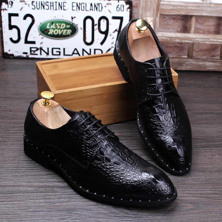 Timsah tahıl siyah/kırmızı yaz chaussures derby hommes oxford makosen ayakkabı mens elbise ayakkabı adam düğün ayakkabı ile dantel