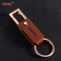 High End Gift Metal Leather Key Rings Car Styling Motorcycle Keychain Pendant For Skoda BMW Hyundai