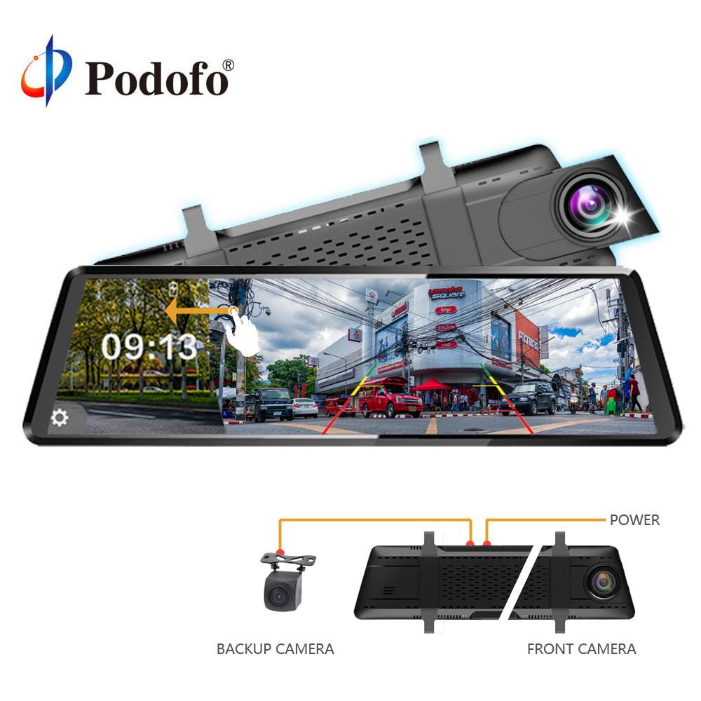 Podofo Registrator Video-Recorder Rear-View-Mirror Car-Dvr-Camera Touch-Screen Dual-Lens