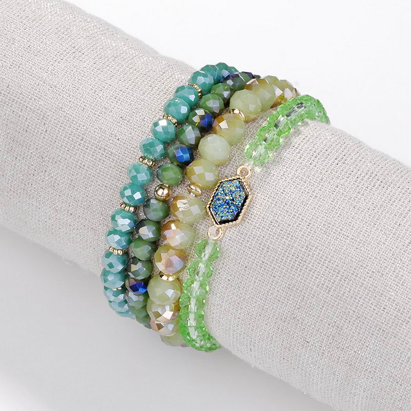 ZWPON 2018 New Elastic Glass Beads Oval Druzy Bangles Set for Women Boho Faceted Stone Carter Bracelet Resin Jewelry Wholesale