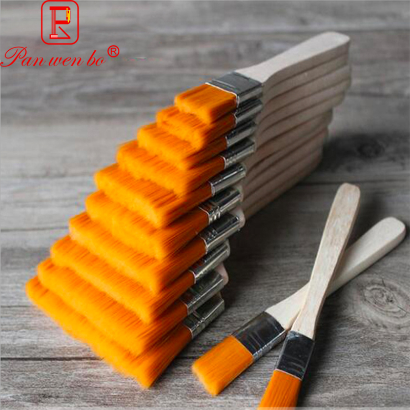 12Pcs/Set Flat Nylon Hair Wooden Penholder Oil Painting Brush Acrylic Oil Paint Brush Scrubbing Brushes Art Supplies image