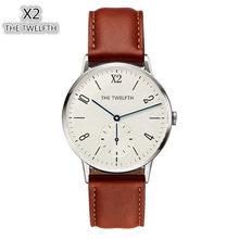 Montre Homme X2 De Twaalfde Eenvoudige Quartz Horloges Lederen Horloge Heren Horloge Horloges Relogio Masculino