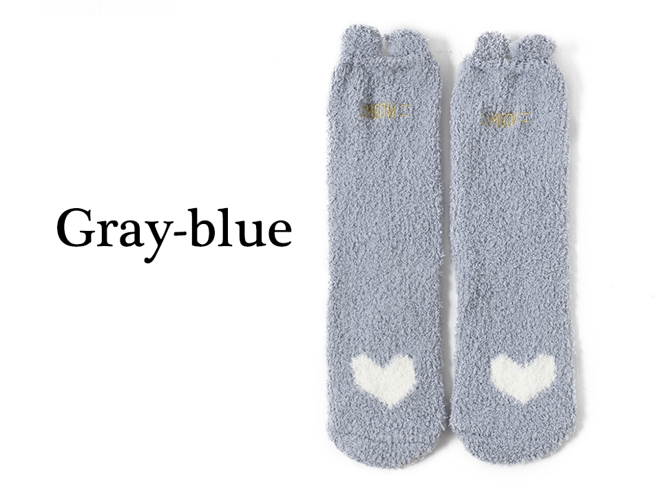 Ladies Winter Japanese Embroidery Animal Corals Velvet Stereo Ear Thick Warm BedS Bed Home Fluffy Socks Coral Velvet Foot Cover (7)