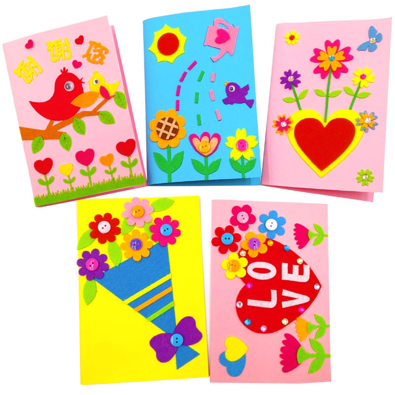 Pleasant 3Pcs Children Handmade 3D Diy Greeting Card Toys Non Woven Fabric Funny Birthday Cards Online Fluifree Goldxyz
