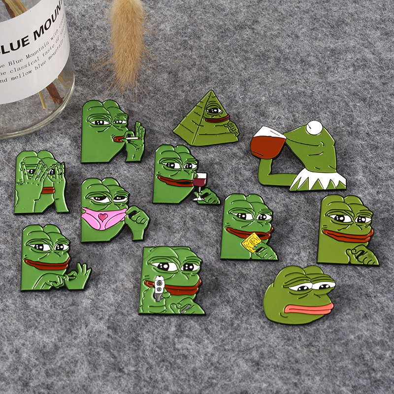 Cartoon kermit Pepe Collection Sad Frog Thinking Dringking <font><b>meme</b></font> Pin Back Badges Brooches Feels bad man Feels good man image