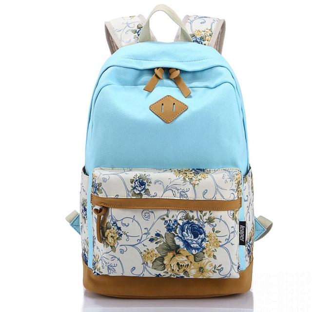 Canvas Match Nubuck Leather Satchel Rucksack Backpacks School Bags for Girls Female Mochila Escolar Printing Backpack School