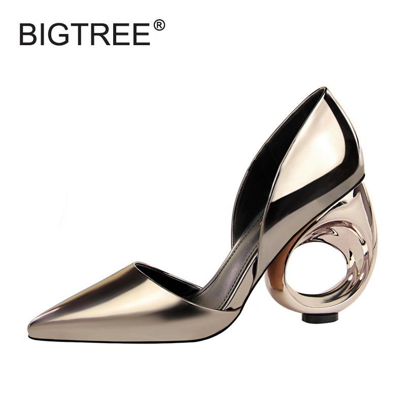 New Women's Fashion Metalic Pu Wedges Sandals Sexy Pointed Toe High Heels Women Shoes Ladies Evening Party Sandals Size 34-39 new 2017 spring summer women shoes pointed toe high quality brand fashion womens flats ladies plus size 41 sweet flock t179