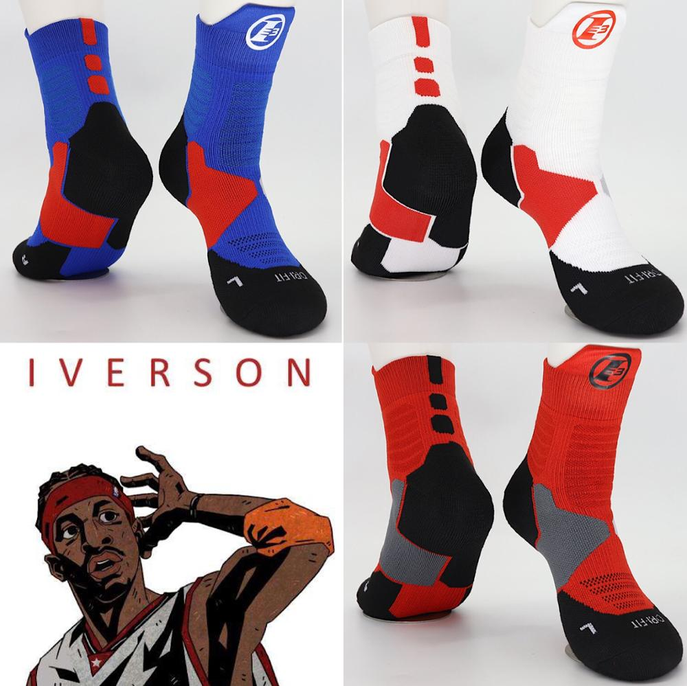 Socks Iverson Cotton Three-No3 Allen Combo-Guard Top-Pick Retired-Player Number Basketball title=