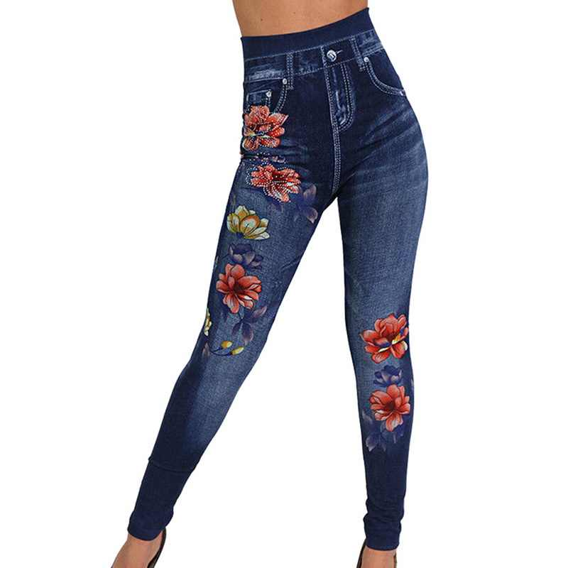 Laamei Fashion Slim Women Leggings Floral Print Pencil Faux Denim Jeans Leggings Casual Women Clothing Plus Size Pencil Pants