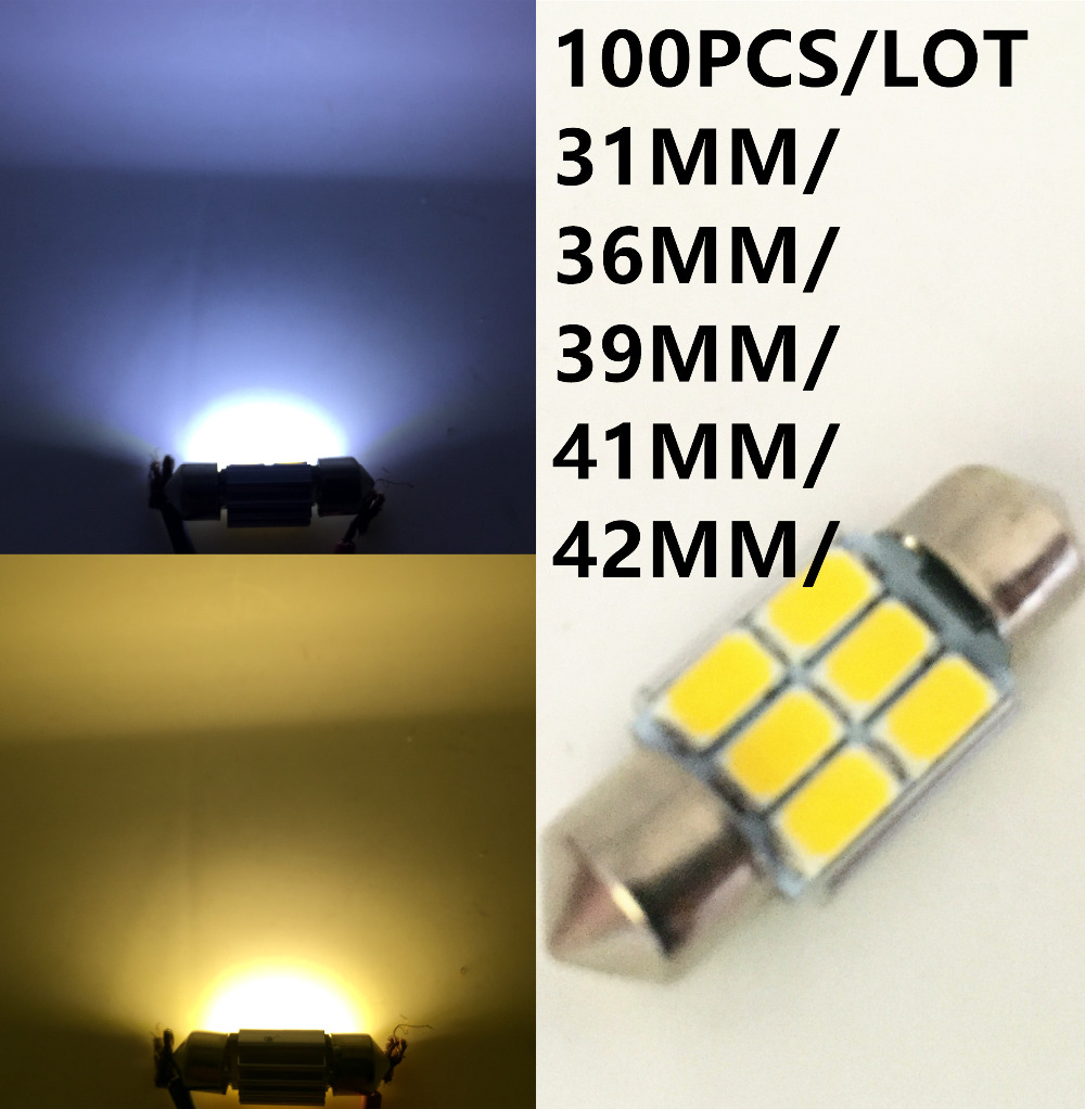 Clearance SALE factory 100PCS/lot 36mm 39mm 41mm 31mm 5630 5730 6LED Festoon led Dome light 6smd Auto Car Bulb Lamp Warm white