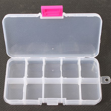 130*65*25mm Double Layer Plastic Fishing Lure Tackle Box Storage Case Spinner Bait Transparent Visible with 10 Compartments