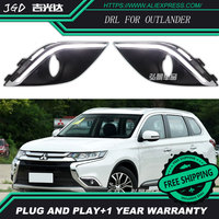 Free Shipping Case For Mitsubishi Outlander 2016 2017 Fog Lights DRL 12V LED Daytime Running Light