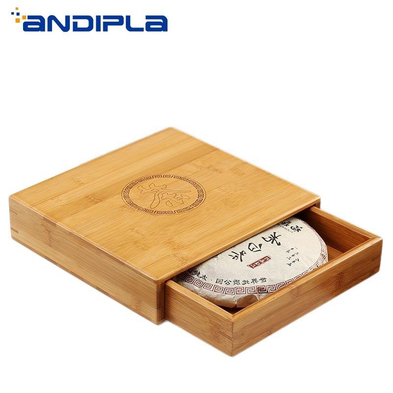 Bambou naturel conteneur thé Caddy Kung Fu thé Set accessoires tiroir thé stockage Puer gâteau organisateur scellé boîte décoration de la maison