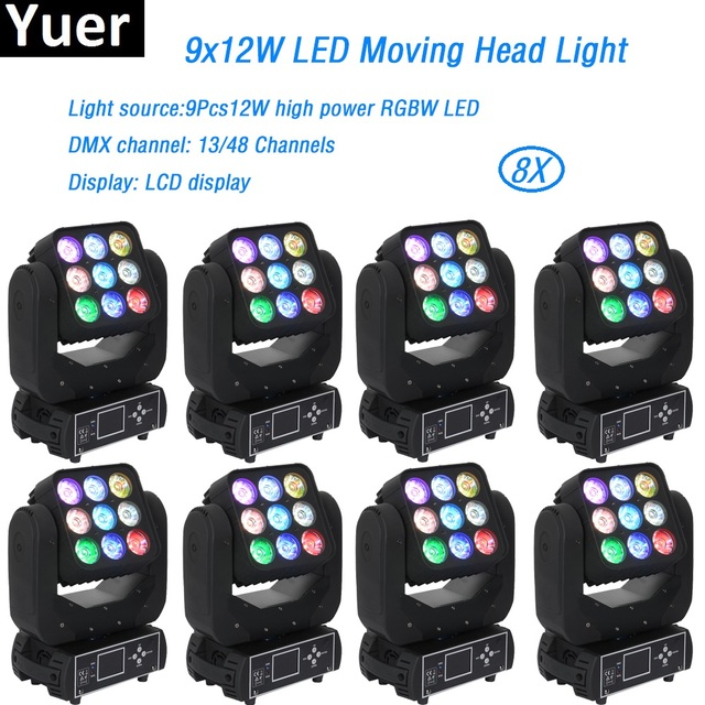 8Pcs/Lot 9x12w RGBW LED Wash Beam Moving Head Light 115W Matrix Moving DMX512 for Disco DJ Bar Nightclub home party stage