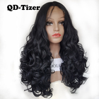 QD-Tizer Hair Big Curly Hair Black Color Wigs with Baby Hair Body Wavy Synthetic Lace Front Wigs for Black Women New Arrival