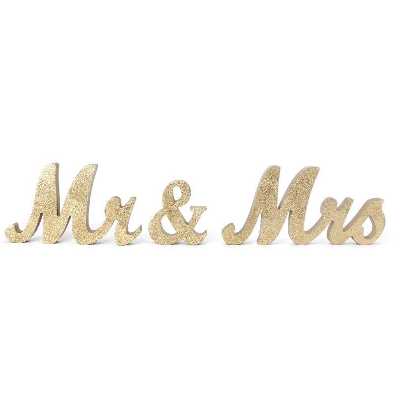 Wedding Table Centerpiece Decoration Golden Silver Glitter Mr Mrs