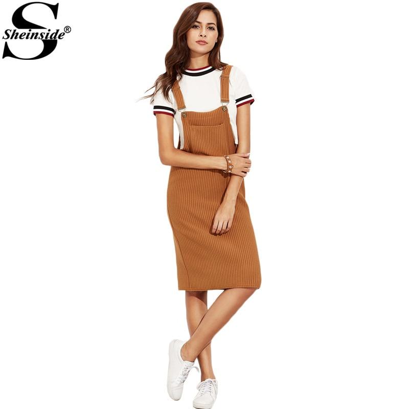 Sheinside <font><b>Khaki</b></font> <font><b>Ribbed</b></font> <font><b>Overall</b></font> <font><b>Dress</b></font> <font><b>With</b></font> <font><b>Pockets</b></font> 2016 Fall Ladies Sleeveless Knee Length Straight <font><b>Dress</b></font>